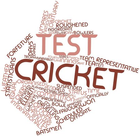 bilateral: Abstract word cloud for Test cricket with related tags and terms