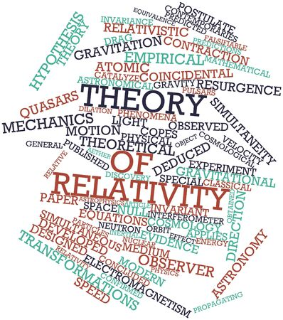 obtained: Abstract word cloud for Theory of relativity with related tags and terms Stock Photo
