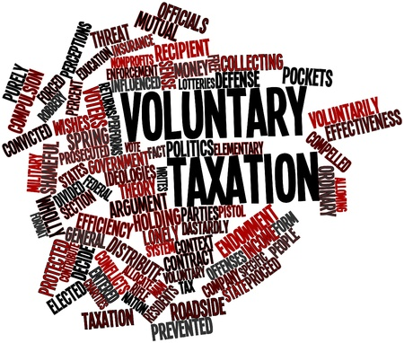 private insurance: Abstract word cloud for Voluntary taxation with related tags and terms Stock Photo