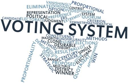 criterio: Word cloud astratto per il sistema di voto con tag correlati e termini Archivio Fotografico