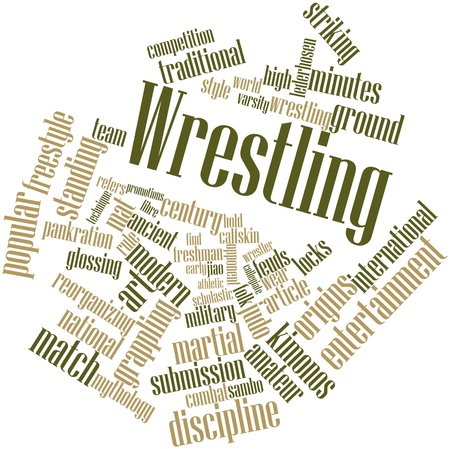 Abstract word cloud for Wrestling with related tags and terms Stock Photo