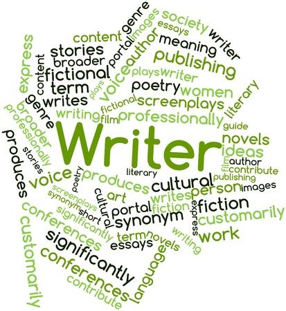 contribuire: Word cloud astratto per Writer con tag correlati e termini Archivio Fotografico