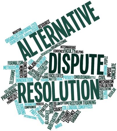Abstract woordwolk voor alternatieve geschillenbeslechting met gerelateerde tags en voorwaarden Stockfoto