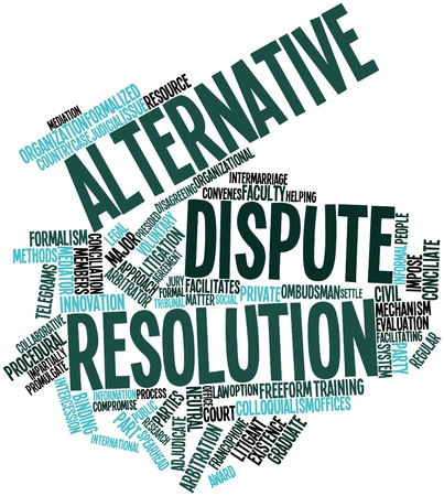 mediator: Abstract word cloud for Alternative dispute resolution with related tags and terms Stock Photo