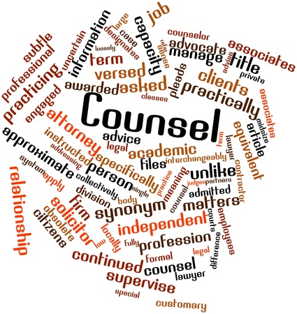 admitted: Abstract word cloud for Counsel with related tags and terms Stock Photo