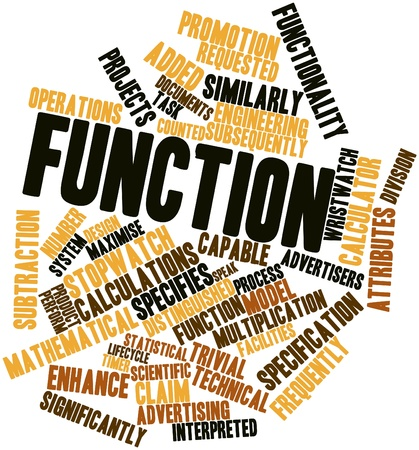 product design specification: Abstract word cloud for Function with related tags and terms
