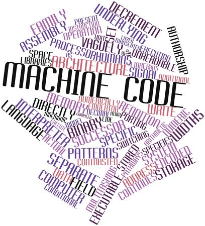 rendition: Abstract word cloud for Machine code with related tags and terms