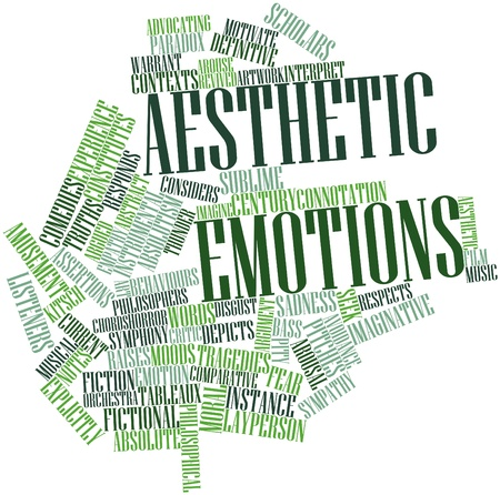 warrant: Abstract word cloud for Aesthetic emotions with related tags and terms Stock Photo