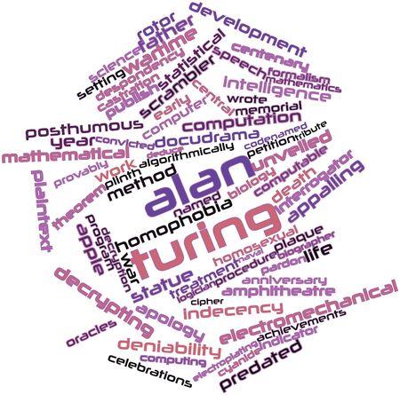 zatrważający: Abstract cloud słowo Alana Turinga z powiązanymi tagów oraz warunków