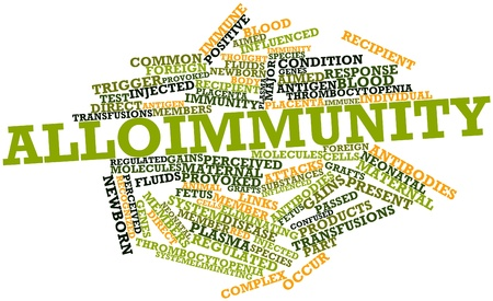 antigen response: Abstract word cloud for Alloimmunity with related tags and terms Stock Photo