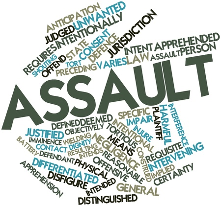 intent: Abstract word cloud for Assault with related tags and terms Stock Photo