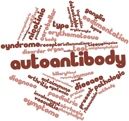 erythematosus: Abstract word cloud for Autoantibody with related tags and terms Stock Photo