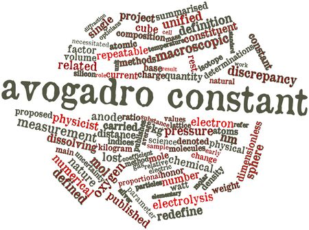 macroscopic: Abstract word cloud for Avogadro constant with related tags and terms Stock Photo