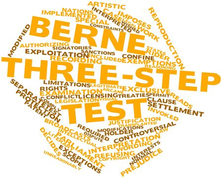 exemptions: Abstract word cloud for Berne three-step test with related tags and terms
