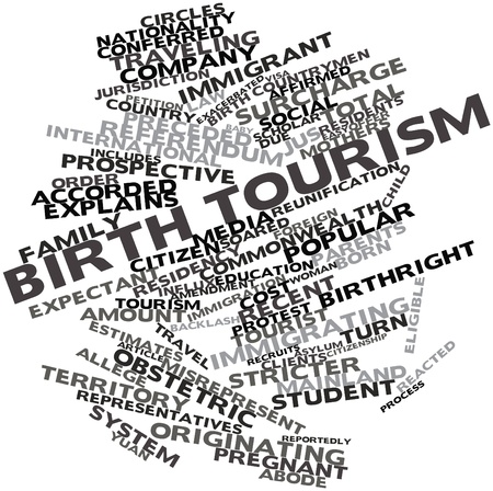preceded: Abstract word cloud for Birth tourism with related tags and terms Stock Photo