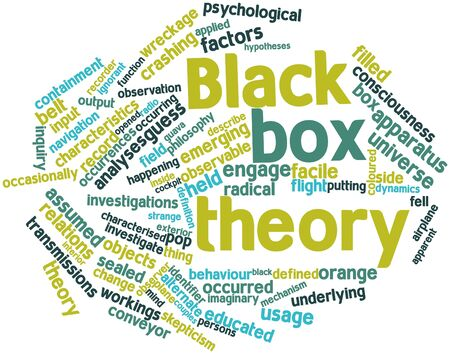 Abstract word cloud for Black box theory with related tags and terms Stock Photo - 16772979