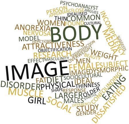 desorden: Nube palabra abstracta por la imagen corporal con las etiquetas y términos relacionados Foto de archivo