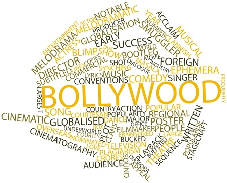 bollywood woman: Abstract word cloud for Bollywood with related tags and terms Stock Photo
