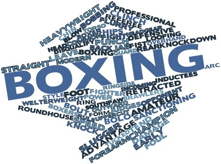 ringside: Abstract word cloud for Boxing with related tags and terms Stock Photo