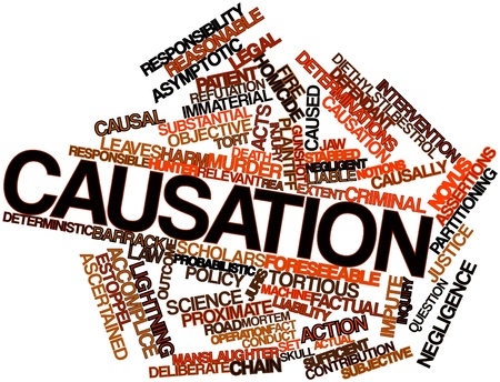 factual: Abstract word cloud for Causation with related tags and terms Stock Photo