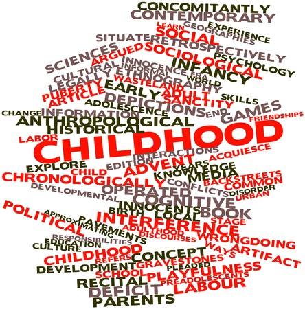 anthropological: Abstract word cloud for Childhood with related tags and terms Stock Photo