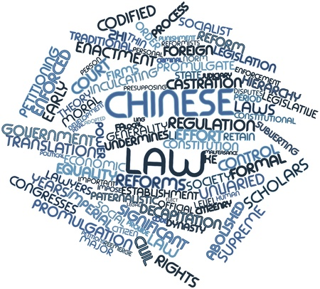 Abstract word cloud for Chinese law with related tags and terms Stock Photo - 16774585