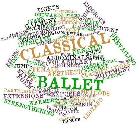 to restrain: Abstract word cloud for Classical ballet with related tags and terms Stock Photo