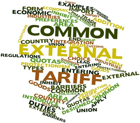 tariff: Abstract word cloud for Common external tariff with related tags and terms Stock Photo