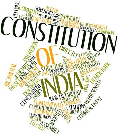 democracia: Nube palabra abstracta por la Constituci�n de la India con las etiquetas y t�rminos relacionados