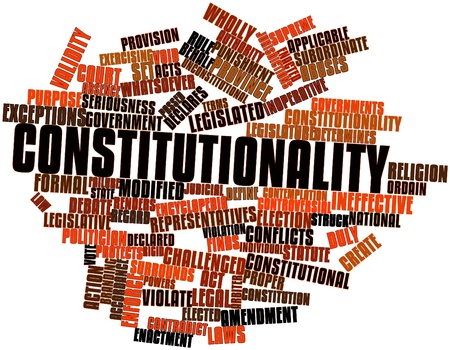 accordance: Abstract word cloud for Constitutionality with related tags and terms Stock Photo