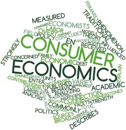 gained: Abstract word cloud for Consumer economics with related tags and terms