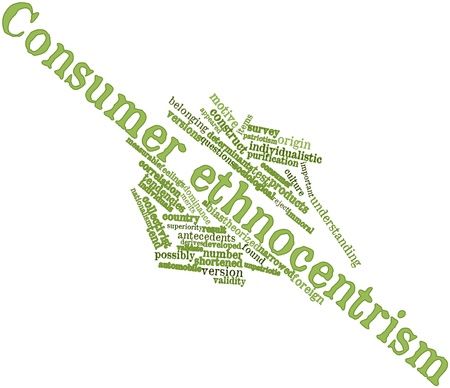 bias: Abstract word cloud for Consumer ethnocentrism with related tags and terms Stock Photo