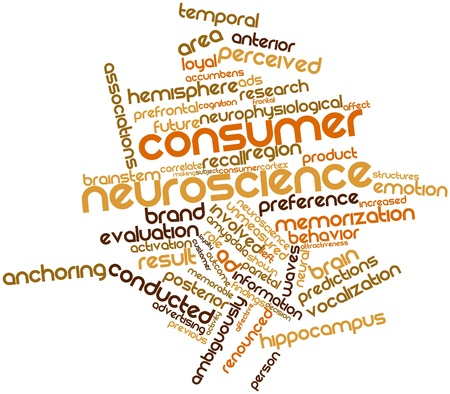 stimuli: Abstract word cloud for Consumer neuroscience with related tags and terms Stock Photo
