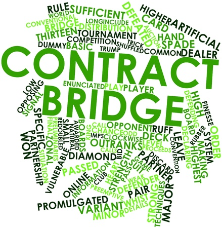 promulgated: Abstract word cloud for Contract bridge with related tags and terms Stock Photo