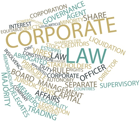 to sue: Abstract word cloud for Corporate law with related tags and terms