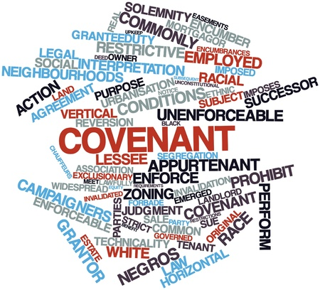 covenant: Abstract word cloud for Covenant with related tags and terms Stock Photo