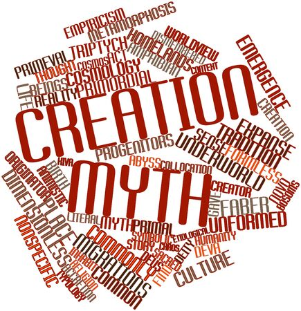 primal: Abstract word cloud for Creation myth with related tags and terms Stock Photo