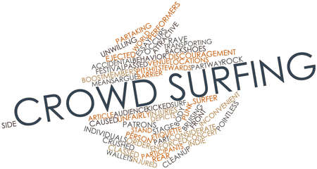 Abstracte woord wolk voor Crowd surfen met gerelateerde tags en termen