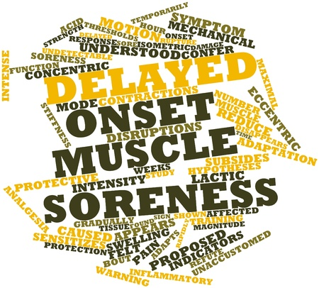 onset: Abstract word cloud for Delayed onset muscle soreness with related tags and terms