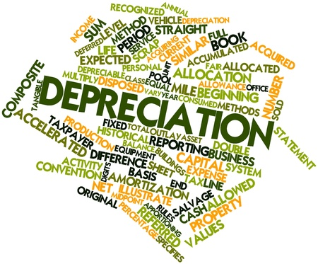 Abstract word cloud for Depreciation with related tags and terms Stock Photo - 16773651