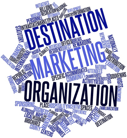 convention: Abstract word cloud for Destination marketing organization with related tags and terms