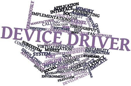 poorly: Abstract word cloud for Device driver with related tags and terms Stock Photo