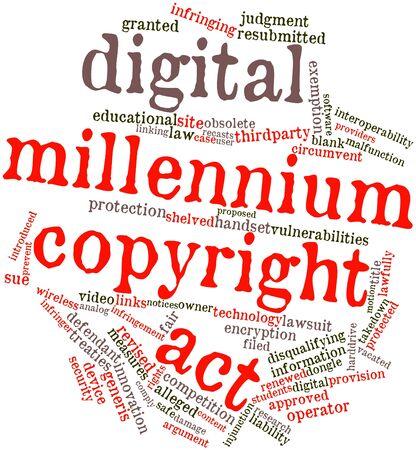 tratados: Nube palabra abstracta para Digital Millennium Copyright Act con las etiquetas y t�rminos relacionados Foto de archivo