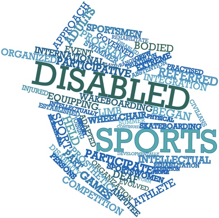 recreational sport: Abstract word cloud for Disabled sports with related tags and terms Stock Photo