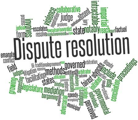 Nube palabra abstracta por Resolución de conflictos con las etiquetas y términos relacionados Foto de archivo