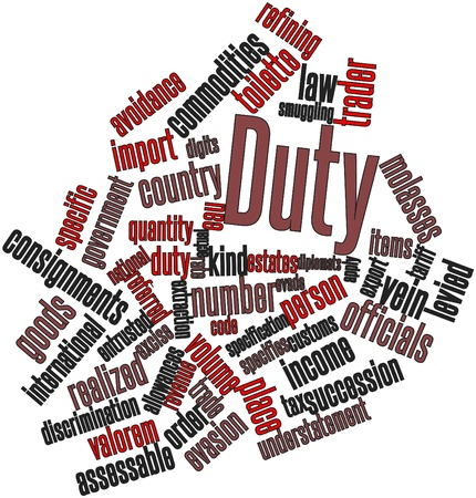 tariff: Abstract word cloud for Duty with related tags and terms