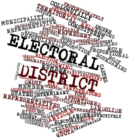 office politics: Abstract word cloud for Electoral district with related tags and terms