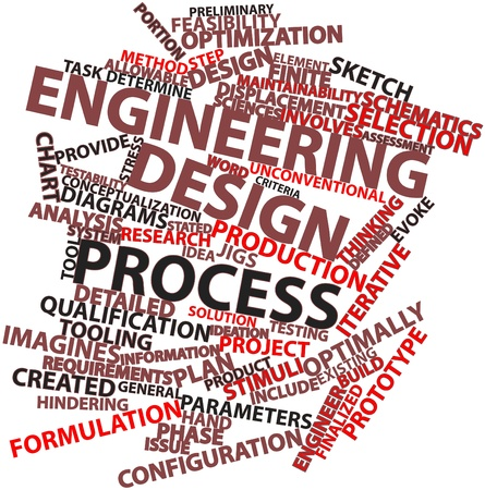 adopting: Abstract word cloud for Engineering design process with related tags and terms