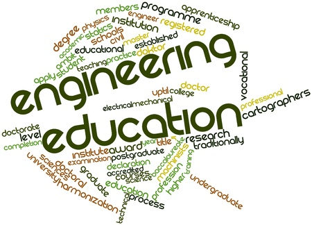 statics: Abstract word cloud for Engineering education with related tags and terms Stock Photo