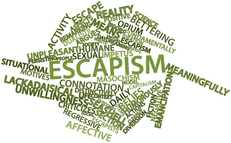humane: Abstract word cloud for Escapism with related tags and terms
